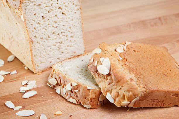 Fresh baked gluten free almond bread stock photo