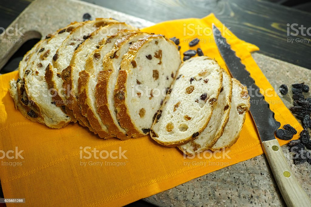 Fresh baked raisins bread stock photo