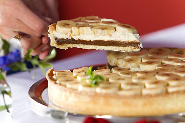 Fresh banana and french cream pie stock photo