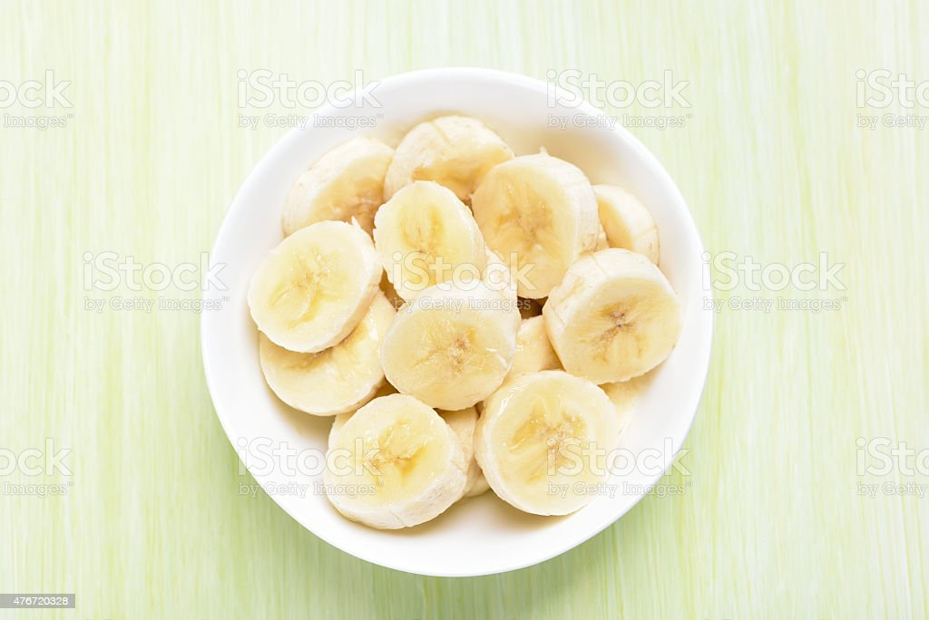 Fresh banana fruits in bowl stock photo