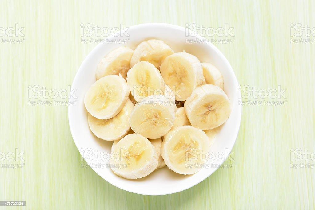 banana frutos frescos na Tigela - fotografia de stock
