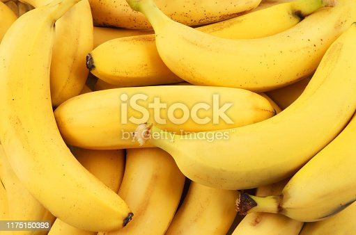 Many fresh bananas as background