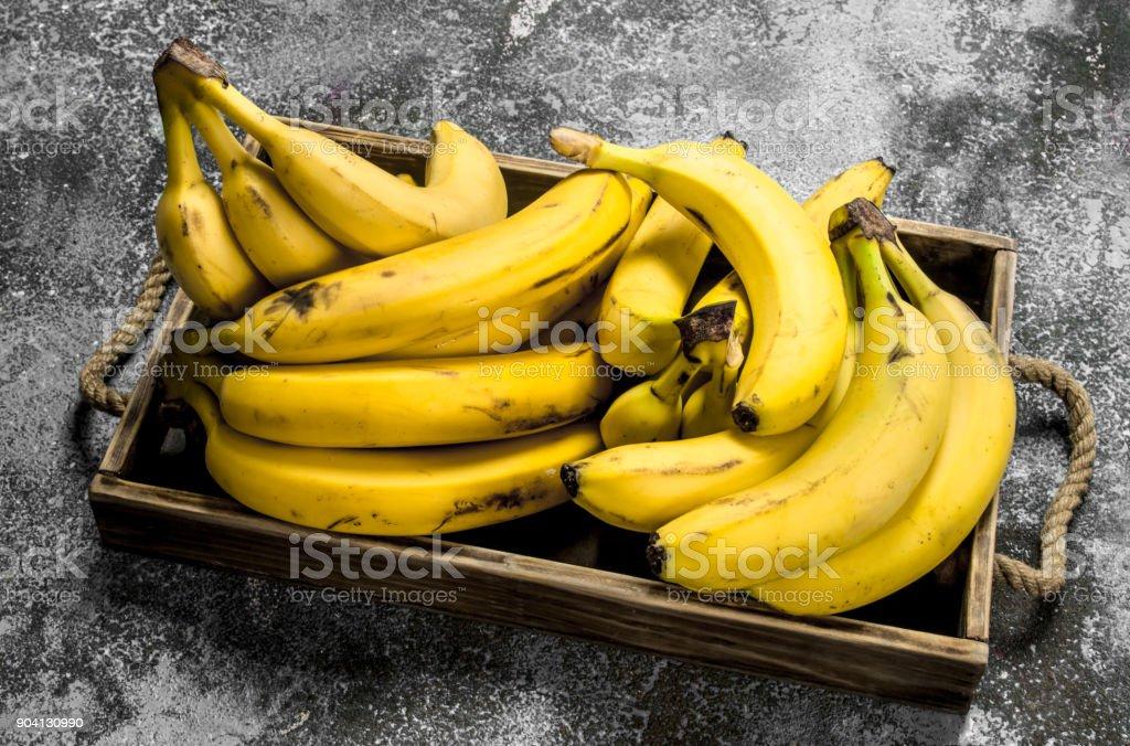 Fresh bananas on a wooden tray. stock photo