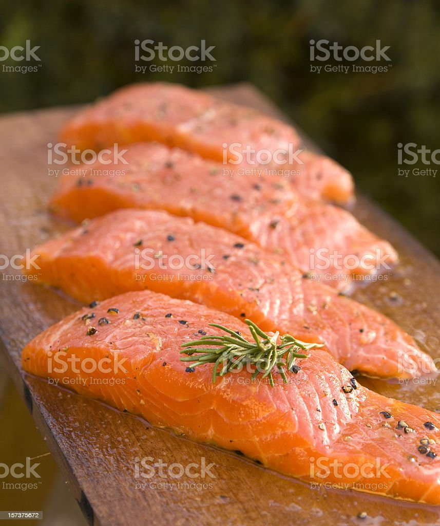 Fresh Barbeque Salmon Fish, Cooking Seafood stock photo
