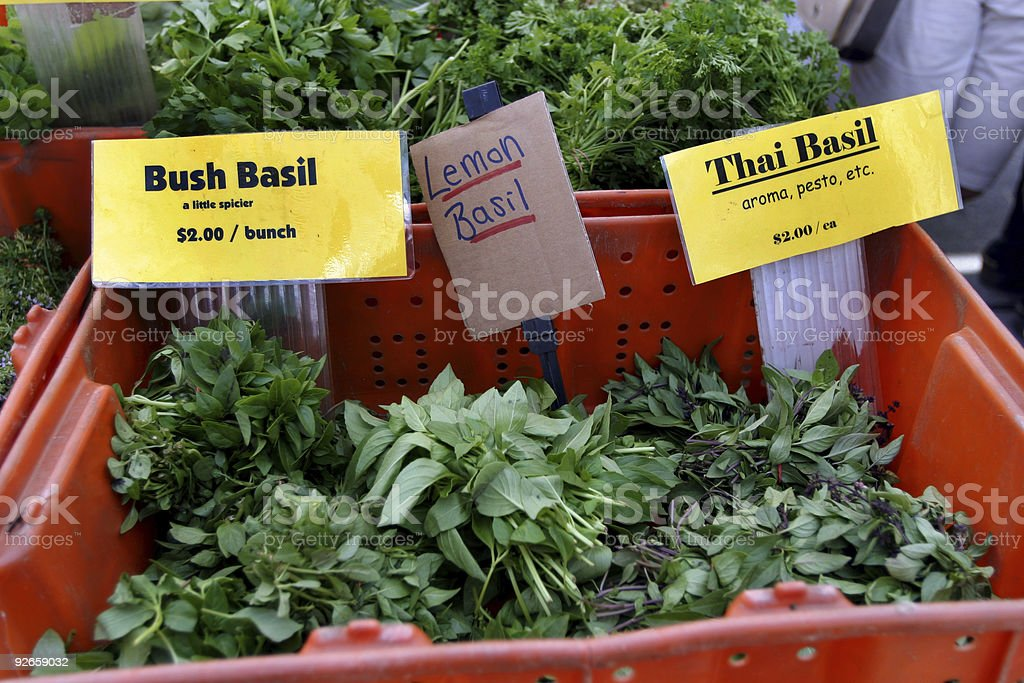 Fresh Basil at Vegetable Market royalty-free stock photo