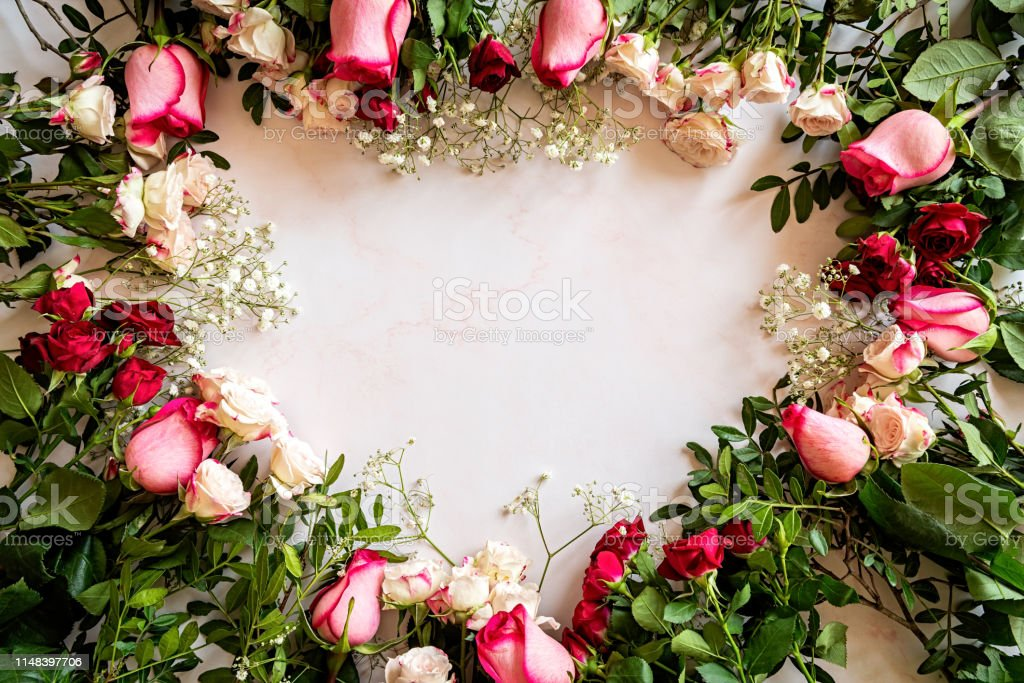 Fresh Beautiful Roses In A Heart Shape On Marble Background With Copyspace Stock Photo Download Image Now Istock