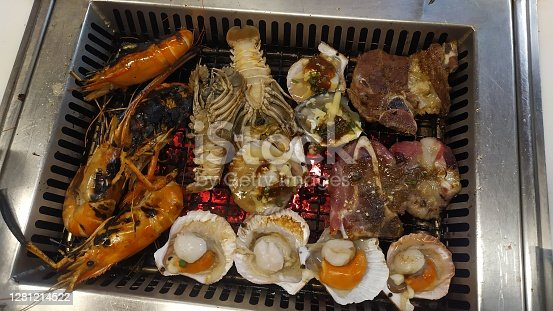 Fresh beef, pork, and seafood, Yakiniku and barbecued menu. mixed and match Asian food style.