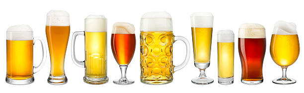 fresh beer collection Collection of fresh beer on white background pilsner stock pictures, royalty-free photos & images