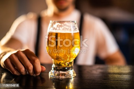 Unrecognizable Man with His Refreshment, Glass of Cold Fresh Beer