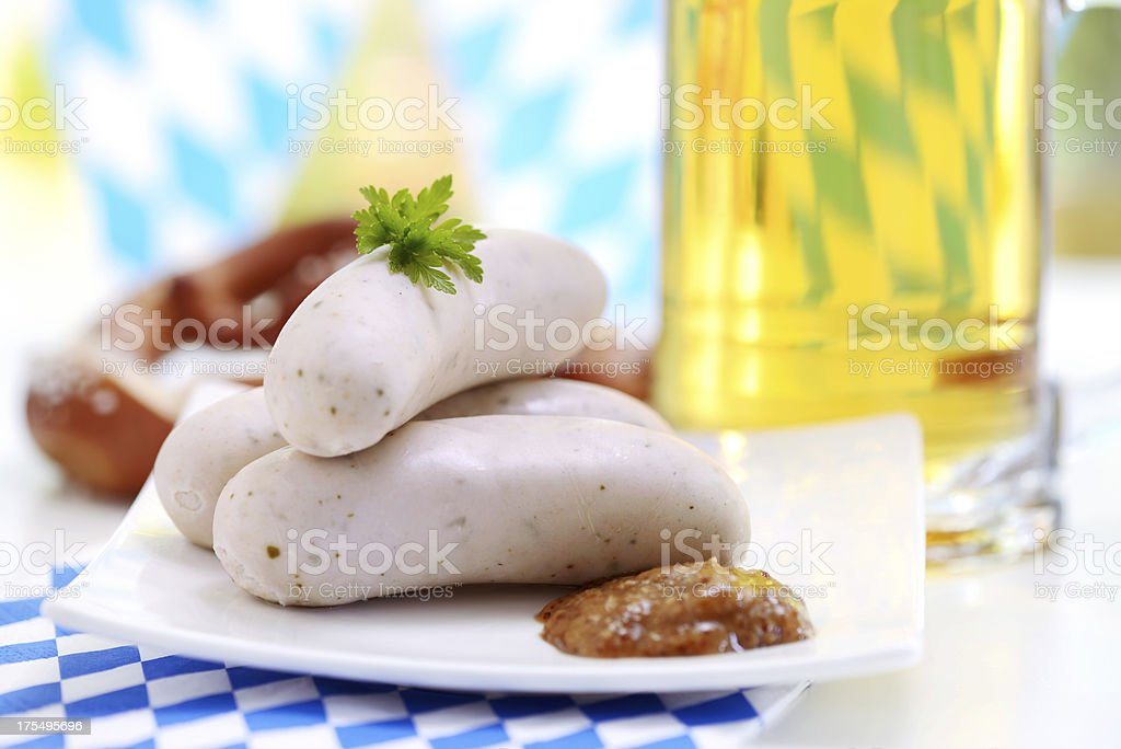 Fresh beer with white sausage- Oktoberfest stock photo