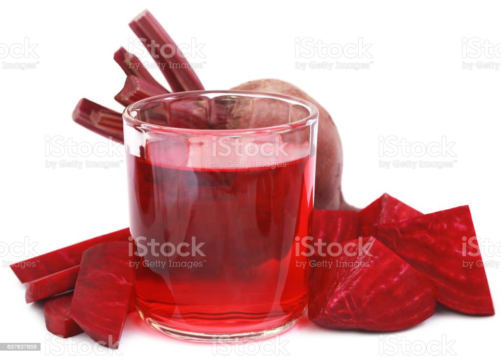 Fresh Beet with juice in glass stock photo