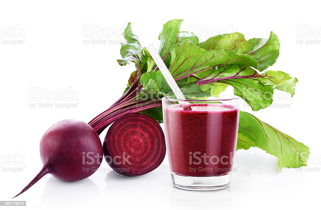 Fresh beetroot and juice (smoothies) isolated on white backgroun stock photo