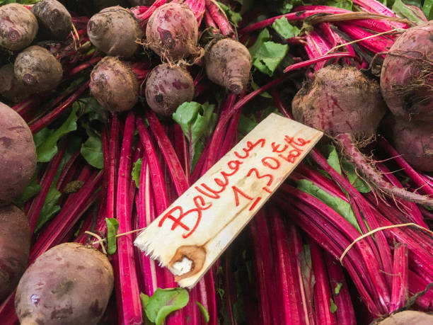 Fresh Beetroot at French Farmers Market stock photo