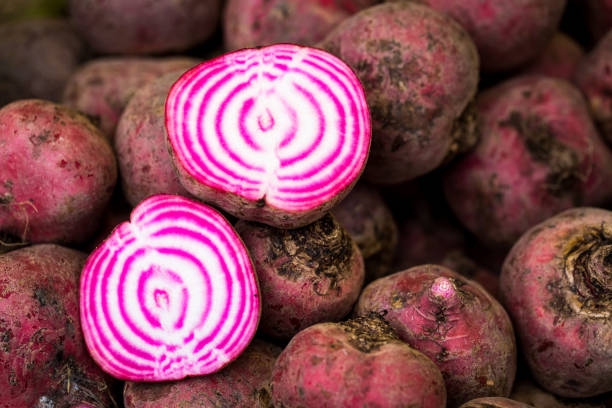 Fresh beetroot for sale at the farmers market stock photo