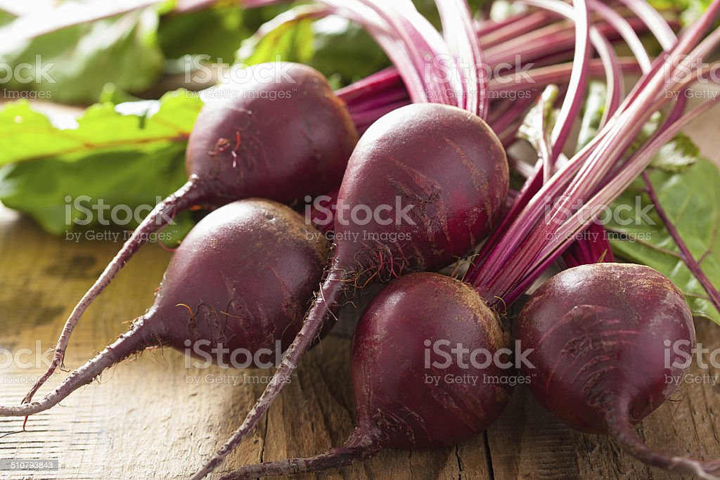 fresh beetroot on wooden background stock photo