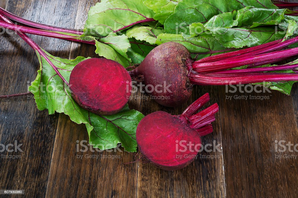 Fresh beetroots with leaves stock photo