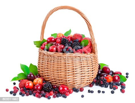 827935944 istock photo Fresh berries in basket isolated on white background 803311662