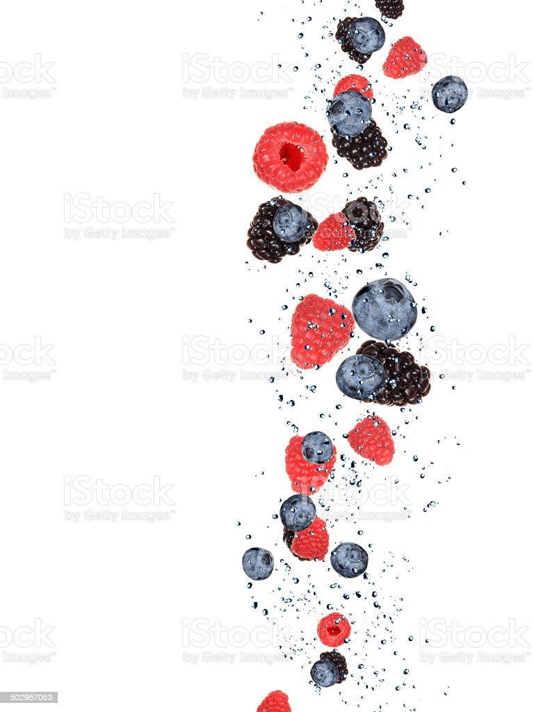 Fresh berries in water splash stock photo