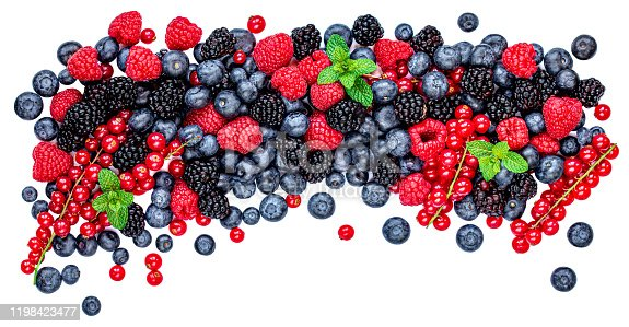 942159066 istock photo Fresh berries isolated on white background, top view. Panorama. Strawberry, Raspberry, Blueberry and Mint leaf, flat lay 1198423477