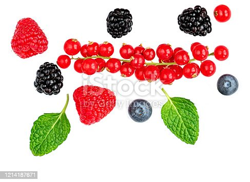 841659594 istock photo Fresh berries isolated on white background, top view. Strawberry, Raspberry, Blueberry and Mint leaf, flat lay 1214187671