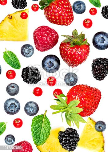 841659594 istock photo Fresh berries isolated on white background, top view. Strawberry, Raspberry, Blueberry and Mint leaf, flat lay 1217287659