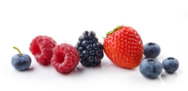 fresh berries isolated on white fresh berries isolated on white background berry stock pictures, royalty-free photos & images