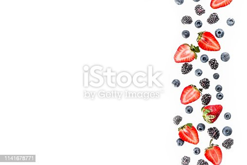 942159066 istock photo Fresh berries pattern - blueberries, strawberries, blackberries 1141678771