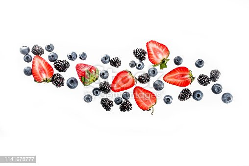 942159066 istock photo Fresh berries pattern - blueberries, strawberries, blackberries 1141678777