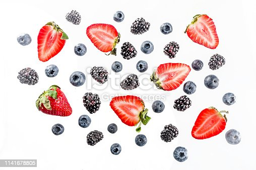 942159066 istock photo Fresh berries pattern - blueberries, strawberries, blackberries 1141678805