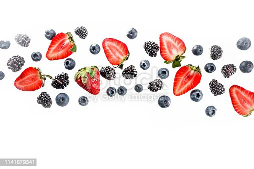 942159066 istock photo Fresh berries pattern - blueberries, strawberries, blackberries 1141679341