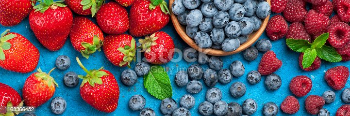 841659594 istock photo Fresh berries strawberry, blueberry, raspberry. Various fresh summer berries 1168366452