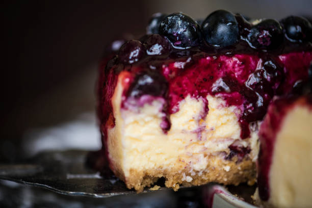 Fresh berry cheescake food photography recipe idea stock photo