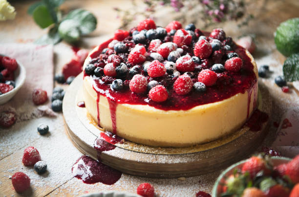 Fresh berry cheesecake food photography recipe idea stock photo