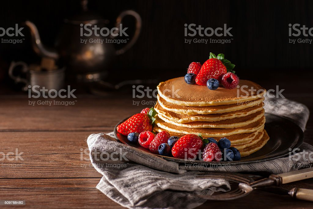 Fresh Berry Pancakes stock photo