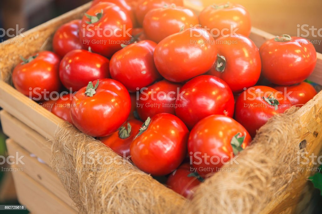 fresh big tomato agriculture industry shipping on wood box stock photo