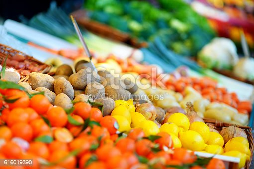 istock Fresh bio fruits and vegetables on a market 616019390