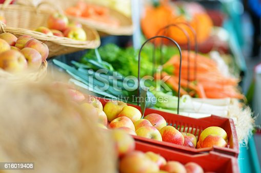 istock Fresh bio fruits and vegetables on a market 616019408