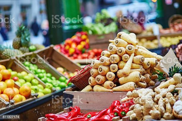 Fresh Bio Parsnip On London Farmer Market Stock Photo - Download Image Now