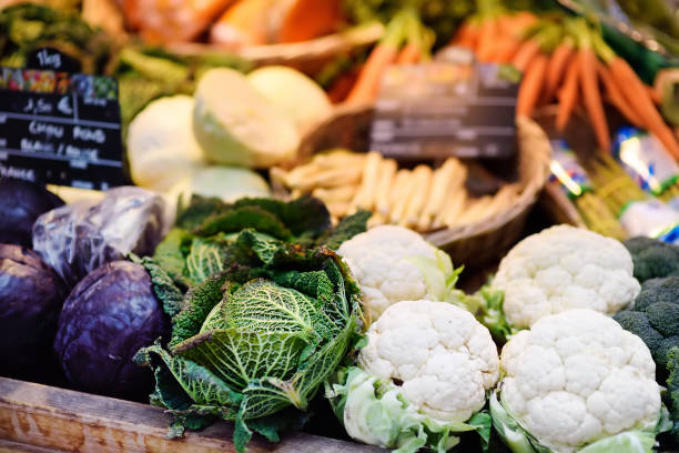Fresh bio vegetables on farmer market in Strasbourg, France stock photo