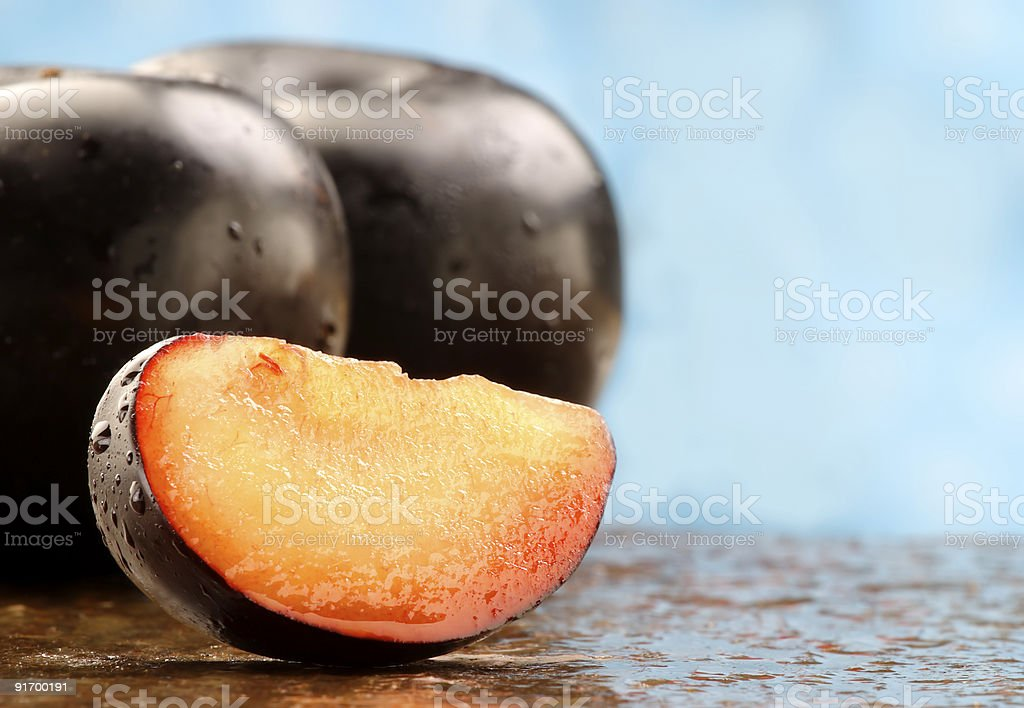 Fresh black Plums royalty-free stock photo
