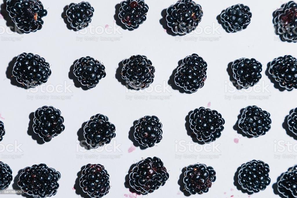 Fresh blackberry background on white Lizenzfreies stock-foto