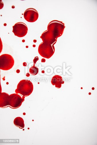 Fresh Blood Droplets Red on White Background 2