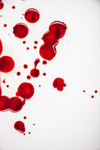 Fresh Blood Droplets Red on White Background 2 stock photo