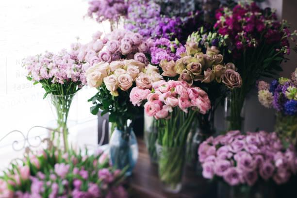 fleurs fraîches florissants à la boutique de fleuriste (roses, renoncules, tulipes, oeillets, mattiola) - fleuriste photos et images de collection