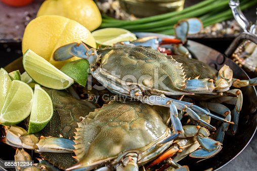 Close up of fresh blue crab