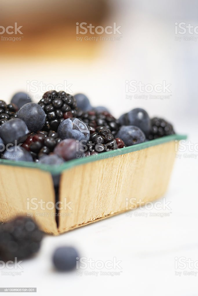 Fresh blueberries an blackberries in basket, close-up royalty-free stock photo