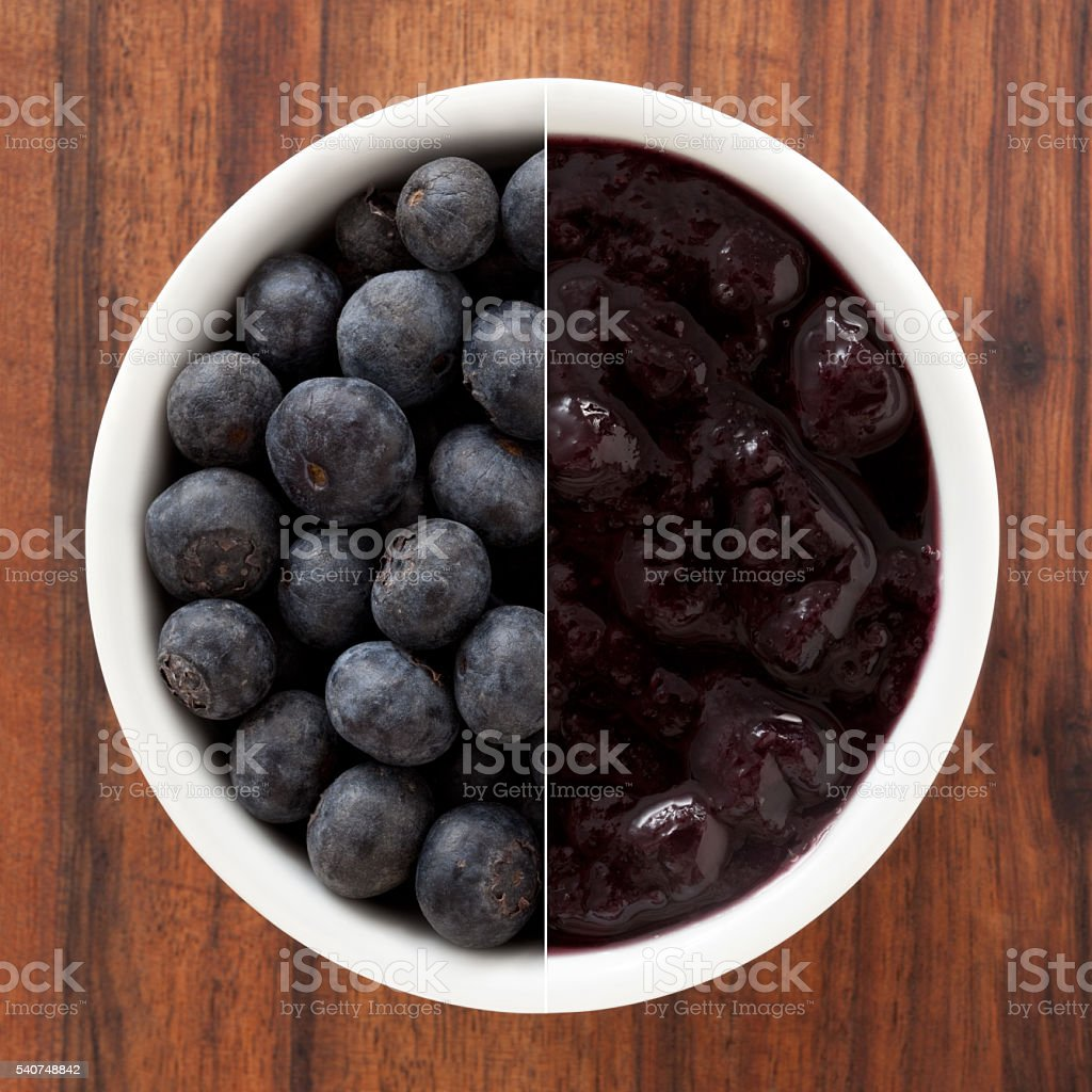 Fresh blueberries and jam composition stock photo