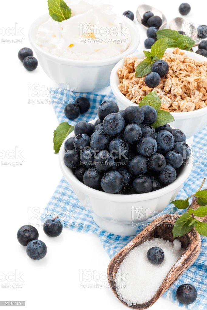 Fresh blueberries on table. stock photo