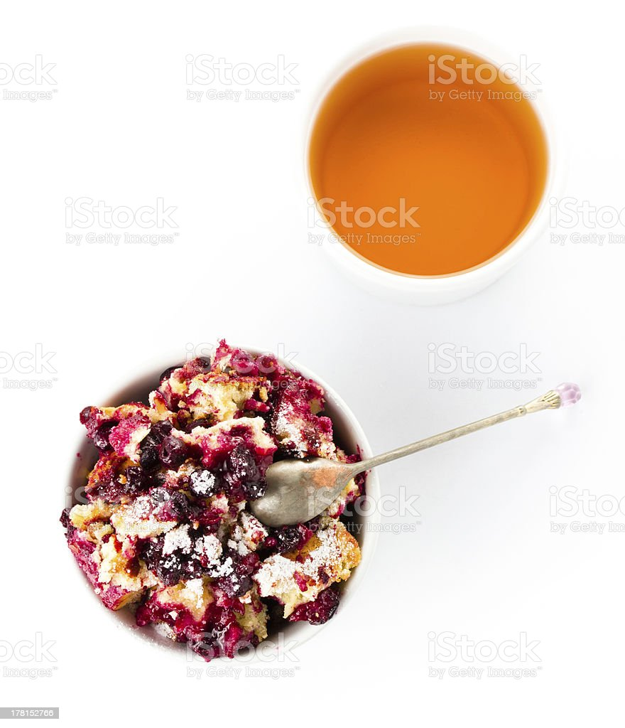 Fresh Blueberry crumble dessert in a bowl stock photo