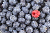 fresh blueberry fruits and a red raspberry closeup food background